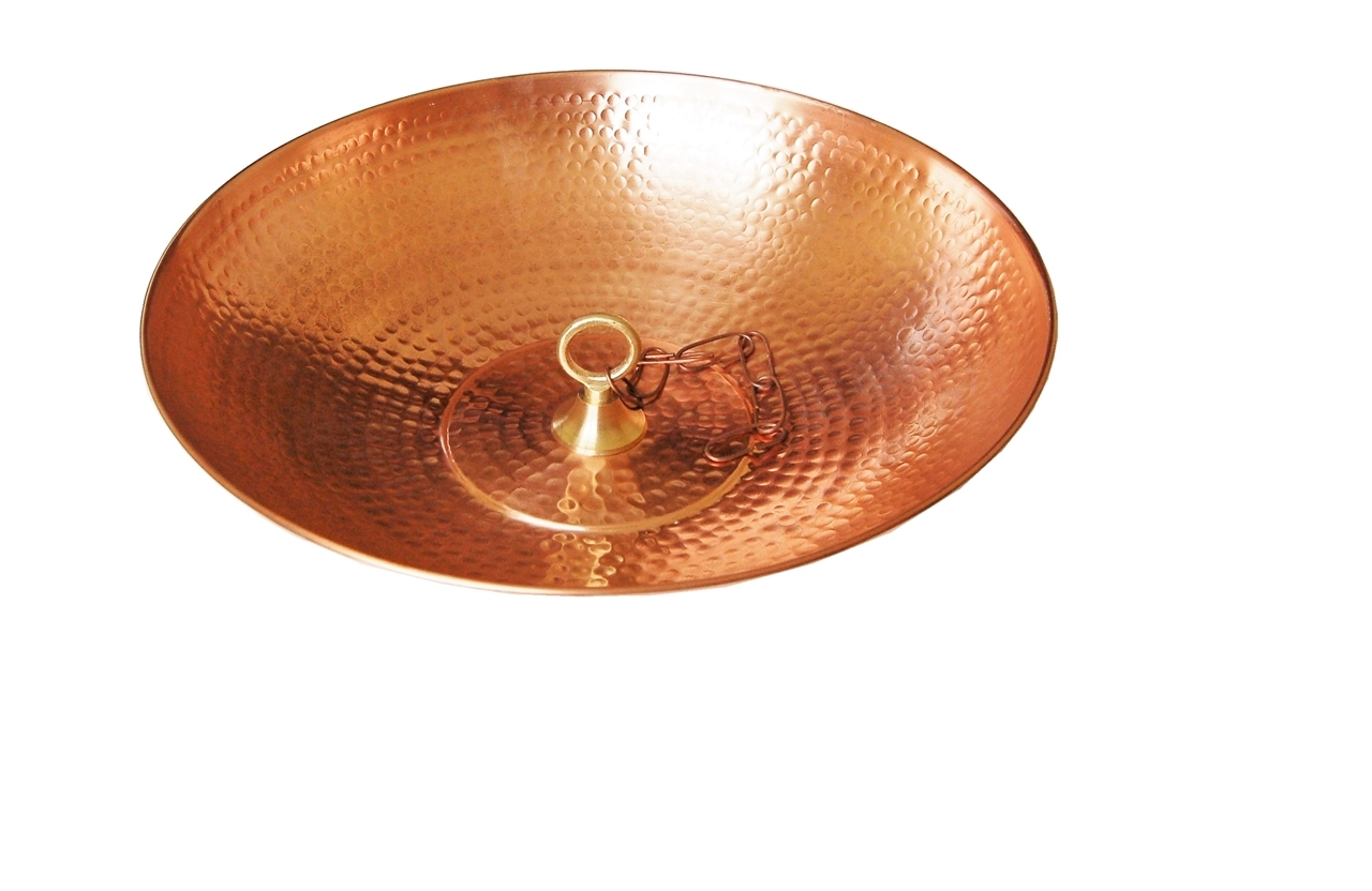"Picture of U-nitt 16"" Pure Copper basin / bowl / dish for Rain Chain: with attachment loop #976"