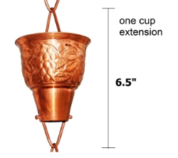 Picture of U-nitt Rain Chain Single Cup Extension #5502: one cup with upper and lower links