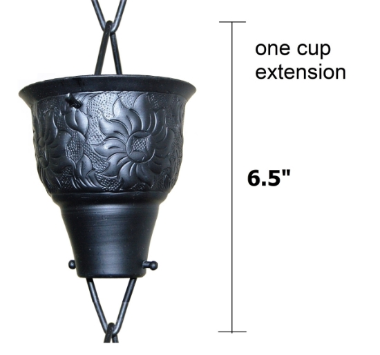 Picture of U-nitt Rain Chain Single Cup Extension #5502A: one cup with upper and lower links