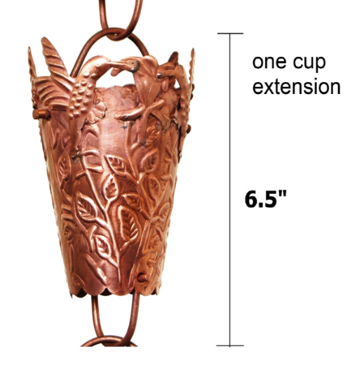 Picture of U-nitt Rain Chain Single Cup Extension #3146: one cup with upper and lower links
