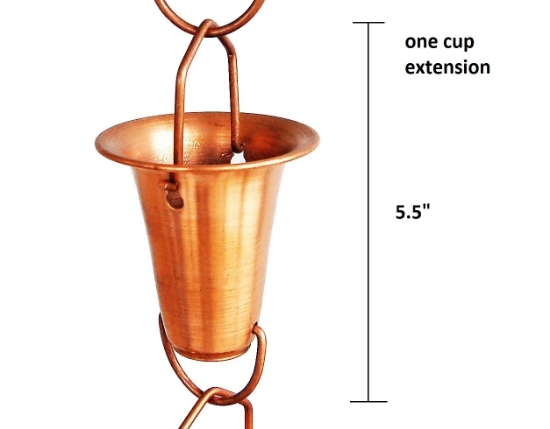Picture of U-nitt Rain Chain Single Cup Extension #7227: one cup with upper and lower links