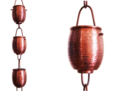 Picture of #5553 Rain Barrel Textured Cup Rain Chain: Pure Copper