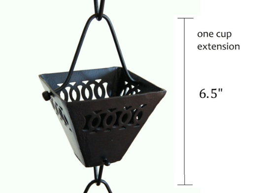 Picture of U-nitt Rain Chain Single Cup Extension #3121BLK: one cup with upper and lower links