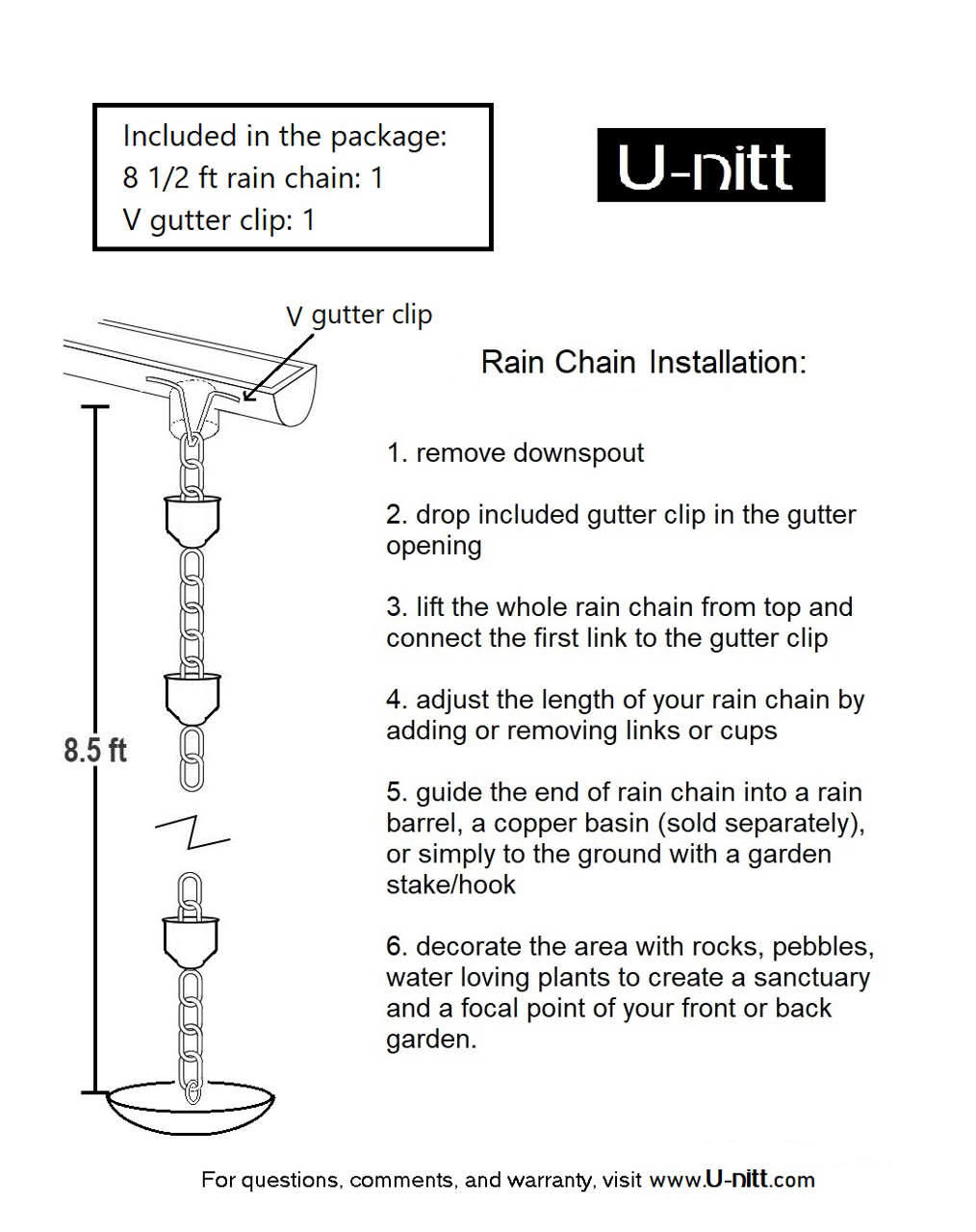 Picture of U-nitt pure Copper Rain Chain: star flower 8 - 1/2 ft #3147