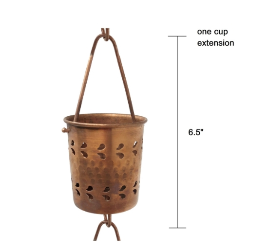 Picture of U-nitt Rain Chain Single Cup Extension #5559: one cup with upper and lower links