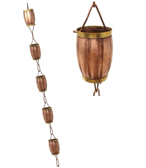Picture of U-nitt Pure Copper Rain Chain: 2-Tone Rain Barrel 8 - 1/2 ft #8575