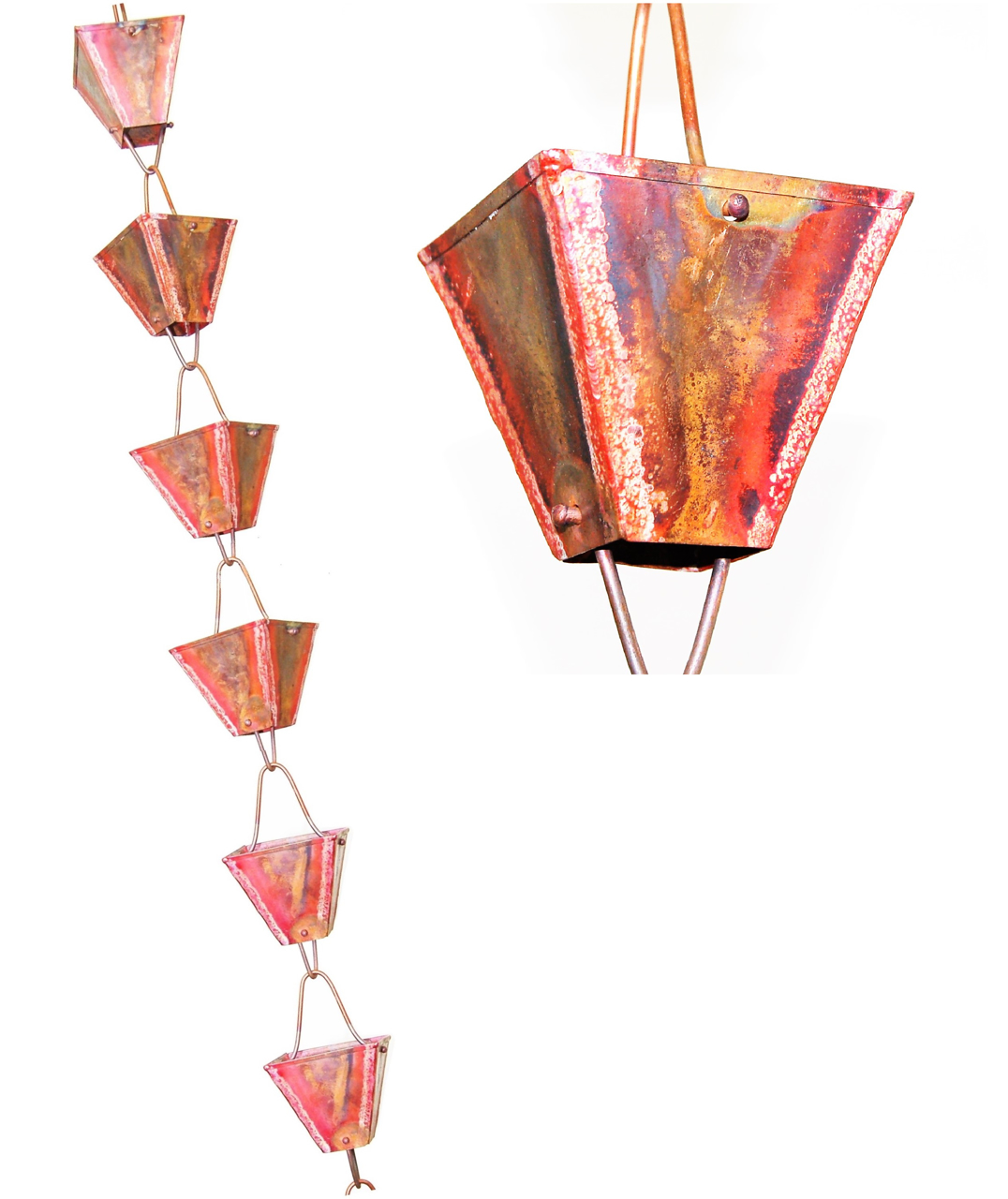 Picture of U-nitt pure Copper Rain Chain, Hang From Your Roof Gutter, Decorative Downspout with Chimes & Cups : Square Cup Plain, Antiqued Copper, 8 - 1/2 ft, #3121URL