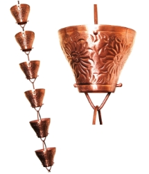 Picture of U-nitt 8-1/2 feet Pure Copper Rain Chain: embossed cup 8.5 ft length #5501