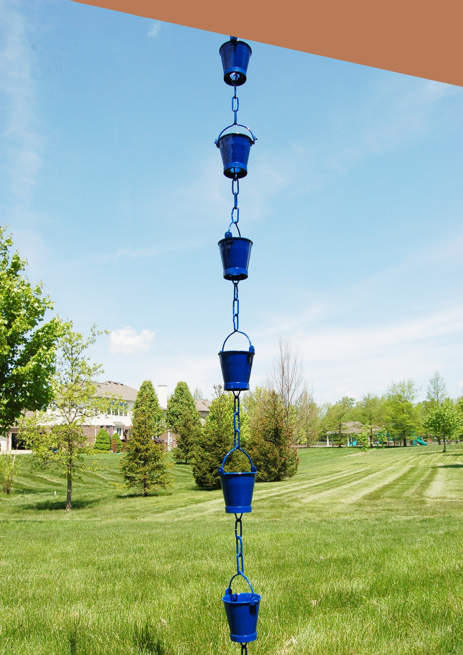Picture of U-nitt Rain Chain: Bucket Cup Aluminum Blue 8 - 1/2 ft #8146BLU