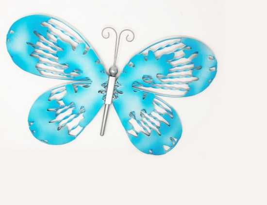 Picture of 18 in. Butterfly Outdoor Metal Wall Art Turquoise Blue G1051