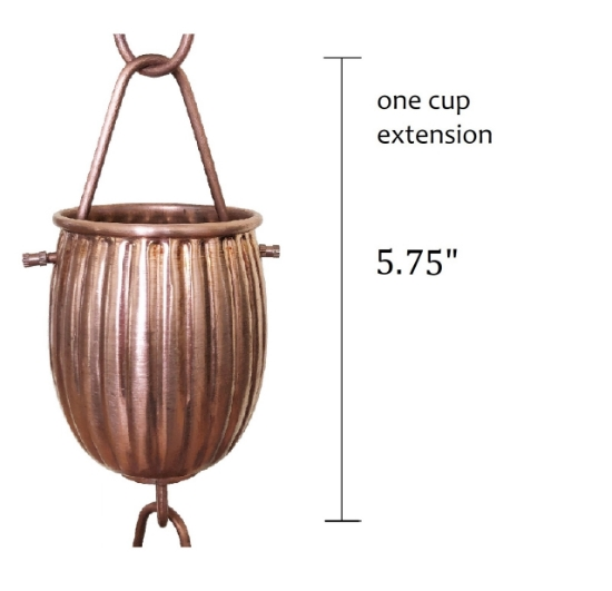 Picture of U-nitt Rain Chain Single Cup Extension #5554: one cup with upper and lower links